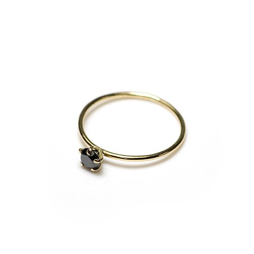 hirondelle et pepin(イロンデールエペパン) / k18 hr-20fw-561 5つ爪ブラックダイヤ リング / ゴールド