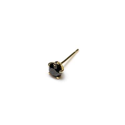 hirondelle et pepin(イロンデールエペパン) / k18 hp-20fw-641 5つ爪ブラックダイヤ ピアス / ゴールド (片耳タイプ)