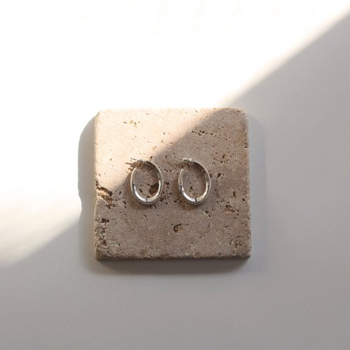 CALLMOON(コールムーン) / ESS002 Drop hoop earrings ピアス - シルバー