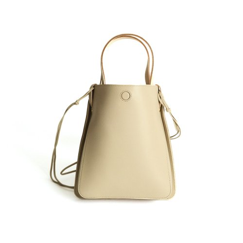 MARROW(マロウ) / MA-AC9301 / ROUNDED BOX 2way レザー ハンドバッグ - SAND BEIGE