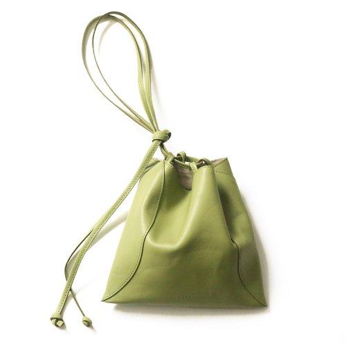 【完売】MARROW(マロウ) / MA-AC8106 / PILLOW-3 レザー巾着型ハンドバッグ - PEA GREEN