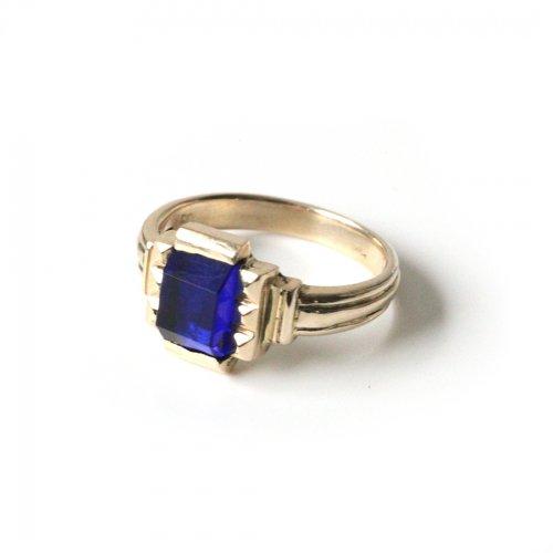hirondelle et pepin(イロンデールエペパン)/ hr-21fw-580-a k10 prince grass ring プランス ガラス リング - ブルー