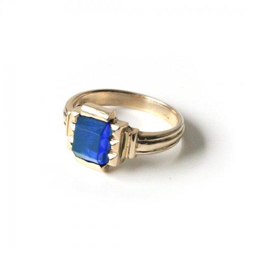 hirondelle et pepin(イロンデールエペパン)/ hr-21fw-580-b k10 prince grass ring プランス ガラス リング - ライトブルー