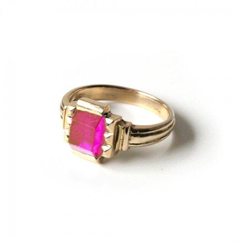 hirondelle et pepin(イロンデールエペパン)/ hr-21fw-580-d k10 prince grass ring プランス ガラス リング - ピンク