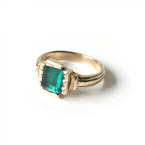 hirondelle et pepin(イロンデールエペパン)/ hr-21fw-580-g k10 prince grass ring プランス ガラス リング - グリーン