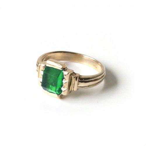 hirondelle et pepin(イロンデールエペパン)/ hr-21fw-580-h k10 prince grass ring プランス ガラス リング - イエローグリーン