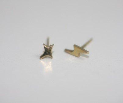 hirondelle et pepin(イロンデールエペパン) / k18-hp-9s-262  フラッシュ×サンダーピアス(両耳タイプ)