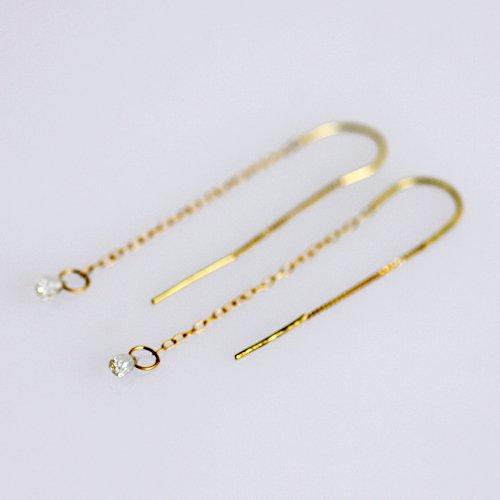 【廃番商品】Perche?(ペルケ) / k18 double chain ピアス - ライトグリーンサファイヤ