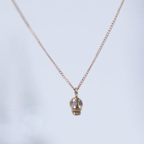 hirondelle et pepin(イロンデールエペパン) / k18 h-n-8-2-177 スカルネックレス - ダイヤ