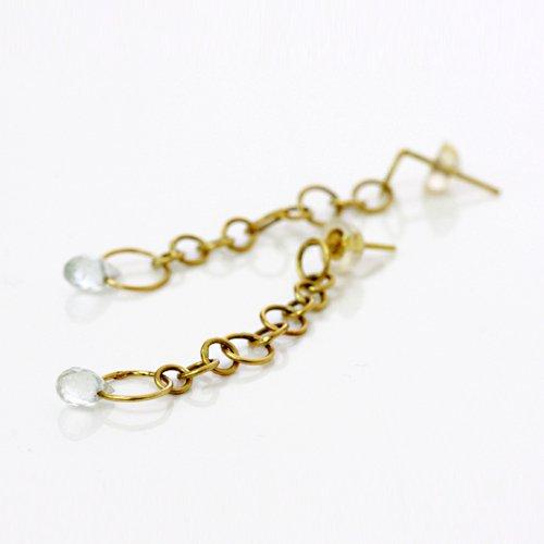 【廃番商品】Perche?(ペルケ) / k18 round chain ピアス - ブルートパーズ