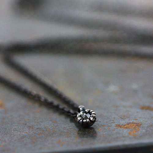 【廃番商品】hirondelle et pepin(イロンデールエペパン) / an-87 シルバー×ブラックダイヤネックレス