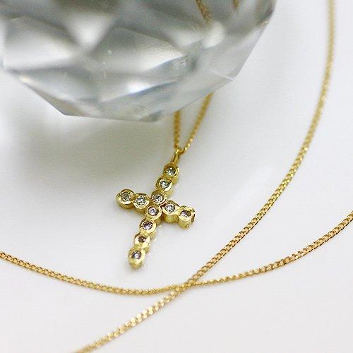 【廃番商品】hirondelle et pepin(イロンデールエペパン) / k18 hn-338 ダイヤクロス ロングネックレス