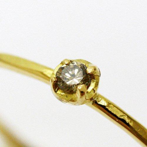 hirondelle et pepin(イロンデールエペパン) / k18 hr-354ミニ4つ爪ブラウンダイヤリング