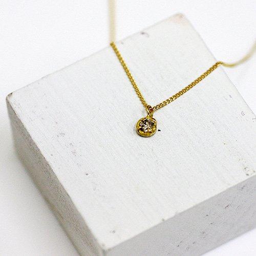 hirondelle et pepin(イロンデールエペパン) / k18 hn-334 ミニ4つ爪ブラウンダイヤ ネックレス