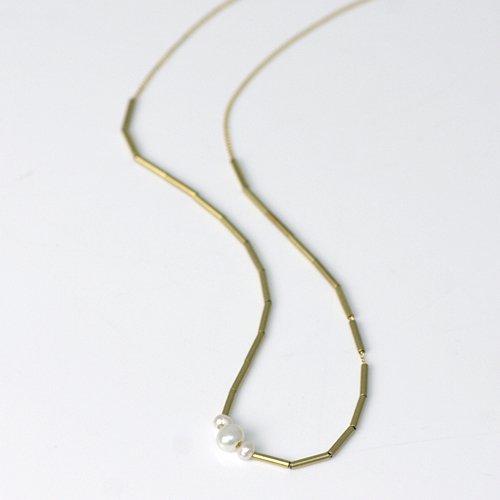 【廃番商品】Perche?(ペルケ) / k18 green gold pype ネックレス - パール