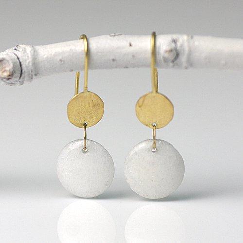 【廃番商品】Perche?(ペルケ) / k18 gold plate coin ピアス - ホワイトジェイド
