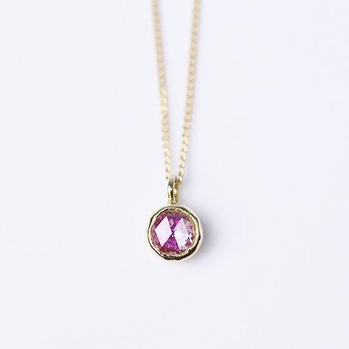 hirondelle et pepin(イロンデールエペパン) / k18 hn-352 レイヤーネックレス - ルビー×ダイヤ