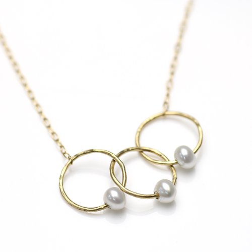 【廃番商品】Perche?(ペルケ) / k18 circle パール ×3 ネックレス