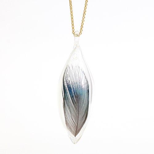 moca.arpeggio(モカ アルペジオ) / GFN-12 Feather フェザー グラス ロングネックレス L - ブルー
