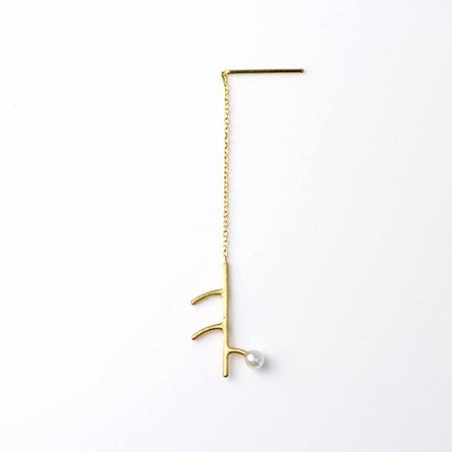 MINIMUMNUTS(ミニマムナッツ) / k18 twig 1パール ピアス (片耳タイプ)