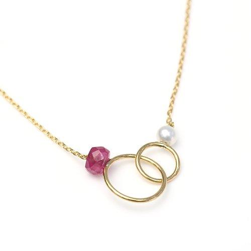MINIMUMNUTS(ミニマムナッツ) / MN-ntr002 k18 tiny ring ネックレス - ルビー