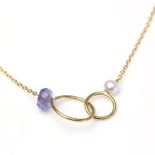 MINIMUMNUTS(ミニマムナッツ) / MN-ntr001 k18 tiny ring ネックレス - タンザナイト
