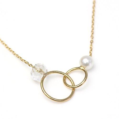 MINIMUMNUTS(ミニマムナッツ) / MN-ntr003 k18 tiny ring ネックレス - クォーツ