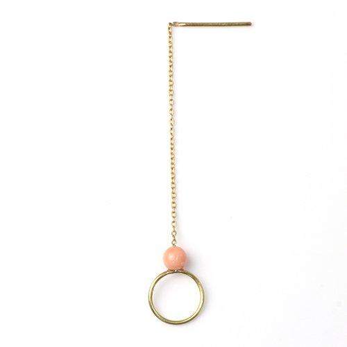 MINIMUMNUTS(ミニマムナッツ) / k18 tiny ring ピアス - ピンクサンゴ (片耳タイプ)