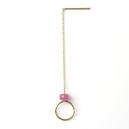 MINIMUMNUTS(ミニマムナッツ) / k18 tiny ring ピアス - ピンクサファイア (片耳タイプ)