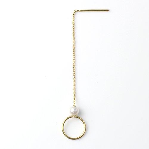 MINIMUMNUTS(ミニマムナッツ) / k18 tiny ring ピアス - 淡水パール (片耳タイプ)