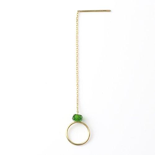 MINIMUMNUTS(ミニマムナッツ) / k18 tiny ring ピアス - クロムダイオプサイド (片耳タイプ)