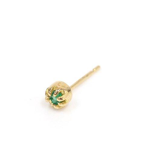 【廃番商品】hirondelle et pepin(イロンデールエペパン) / k18 hp-472 ssシャトン ピアス - エメラルド (片耳タイプ)