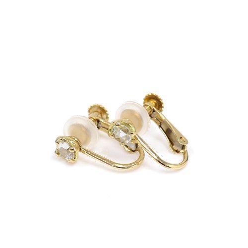 hirondelle et pepin(イロンデールエペパン) / k18 he-01 4つ爪 ローズカットダイヤ イヤリング(両耳タイプ)