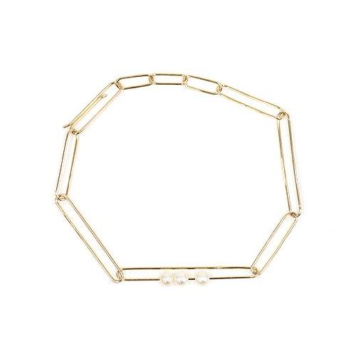 【廃番商品】siki(シキ) / RDC-B02-K10 パールとランダムチェーンブレスレット - ゴールド