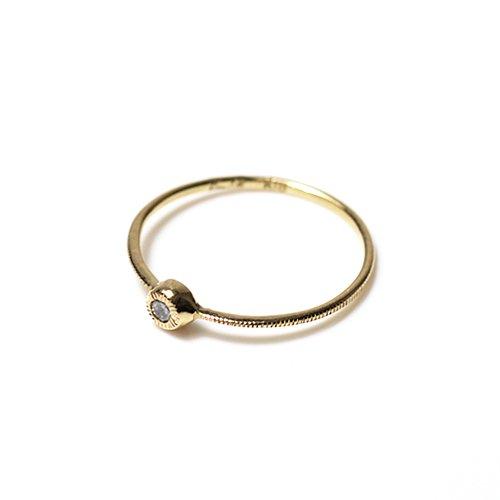 【廃番商品】hirondelle et pepin(イロンデールエペパン) / k18 hr-462 ギザギザふくりんダイヤリング