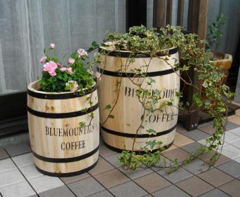 カフェ風のおしゃれなプランターカバー♪コーヒーバレル 大小 セット