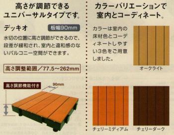 バルコニー用フルフラットウッドデッキ 「デッキオ90」 チェリーミディアム 450×1800