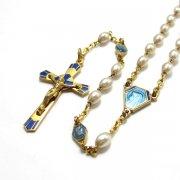 ロザリオ 聖母とキリスト ブルーエナメルとフェイクパール