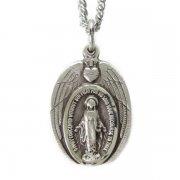 聖心と天使の羽 不思議のメダイ ペンダント ネックレス  シルバー製 チェーン&箱付き