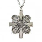 聖人と聖霊のクロスメダイ ペンダント ネックレス  シルバー製 チェーン&箱付き アメリカ製