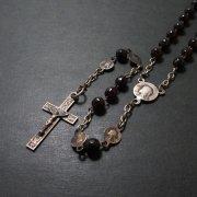 アンティークロザリオ 聖母マリアとイエスキリスト ダークレッドビーズ