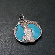 聖ギスラン 聖母マリア アンティーク エナメル メダイ ペンダント