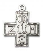 光と生命の十字架 クロス L ペンダント スターリングシルバー製 【受注発注】
