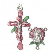 薔薇と聖母子 ピンク&グリーンエナメル  センターメダイとクロスのロザリオアクセサリーパーツセット