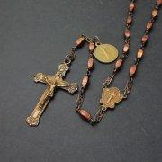 アンティーク ロザリオ ボープルの聖アンナ ブラウンラメビーズ