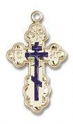 聖オルガ クロス ブルーエナメル S 十字架ペンダント ゴールドフィルド製