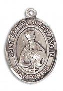 イースト・アングリアの聖エドマンド殉教王 メダイ M スターリングシルバー製 ペンダント 【受注発注】