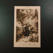 アンティーク ホーリーカード  声を聞く聖ジャンヌ・ダルク