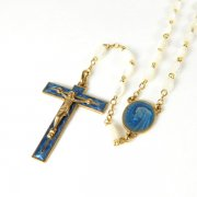 ヴィンテージ ロザリオ 聖母マリアのセンターメダイ ゴールド&マザーオブパール  ブルーエナメル <デッドストック>