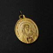 聖母マリアの御心とキリストの聖心 アンティークメダイ